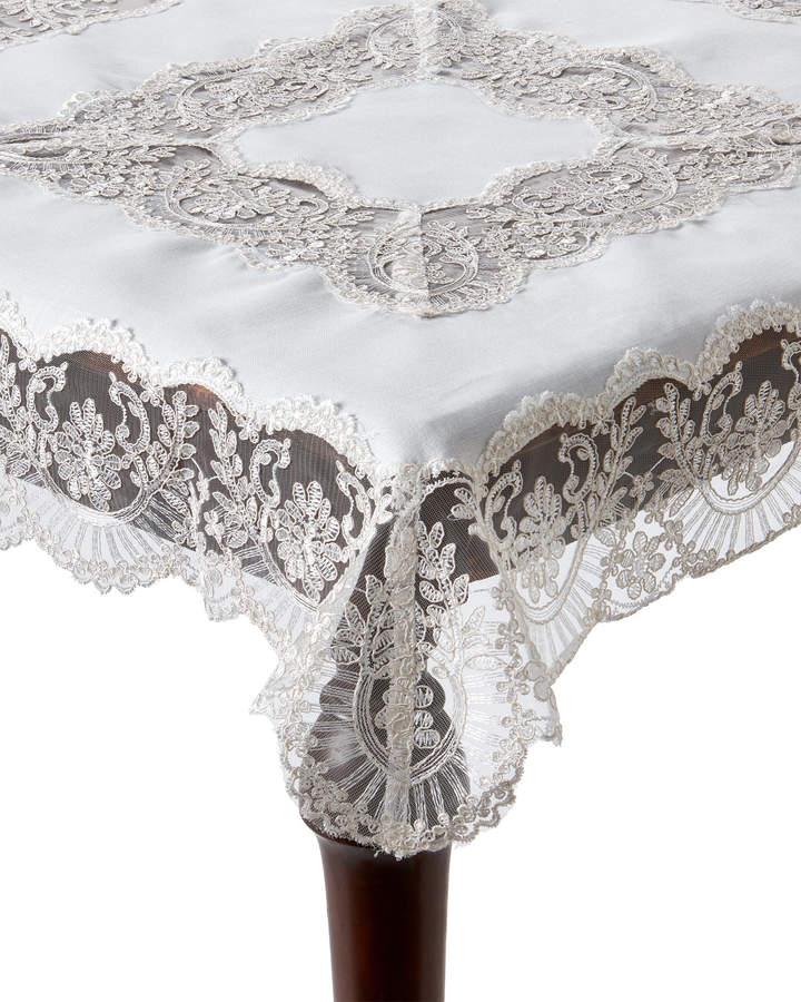 K & K Tabletops White Alencon Lace Table Topper