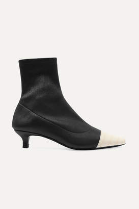 BY FAR Karl Two-tone Stretch And Croc-effect Leather Sock Boots - Black