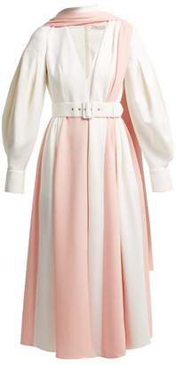 Emilia Wickstead Farell Bi Colour Wool Crepe Dress - Womens - Light Pink