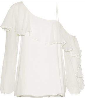 Haute Hippie Asymmetric Ruffled Silk-Georgette Blouse