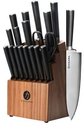 Ginsu Gourmet Chikara Series Forged 19-Piece Japanese Steel Knife Set Cutlery Set with 420J Stainless Steel Kitchen Knives Bamboo Finish Block, COK-KB-DS-019-1