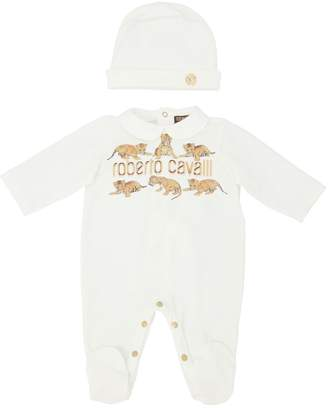 Roberto Cavalli Tigers Logo Cotton Jersey Romper & Hat