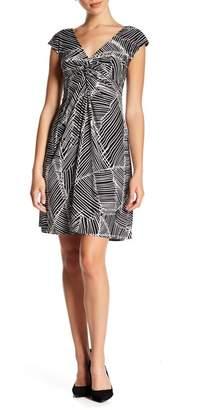 London Times Twist Front Patterned Cap Sleeve Dress (Petite)
