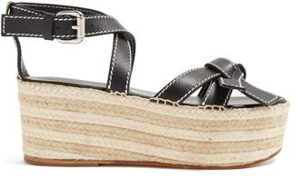 8b245079f9c7b Loewe Gate Knotted Wedge Sandals - Womens - Black