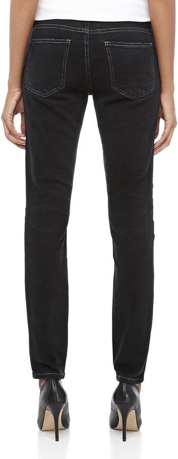 Current/Elliott Drift Patchwork Moto Skinny Ankle Jeans
