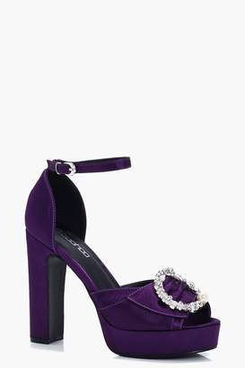 boohoo Peeptoe Pearl & Diamante Trim Platform Heels