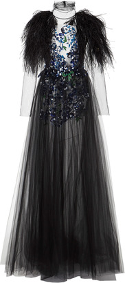 Long Sleeve Embroidered Gown With Feathers