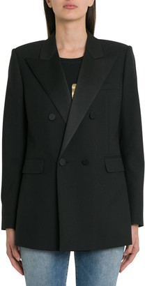 Saint Laurent Double-breasted Blazer With Satin Lapels