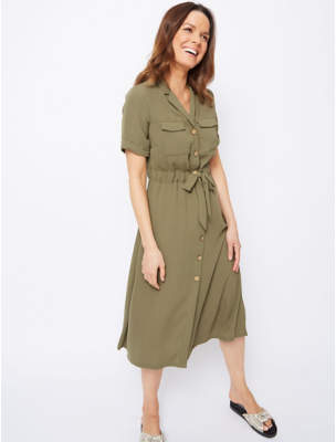 George Khaki Green Midi Shirt Dress