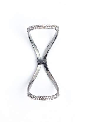 Lera Jewels Pave Diamond & Rhodium Silver Hinged Ring