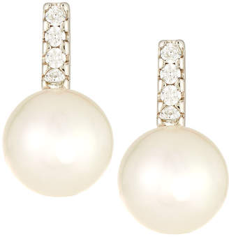 Majorica Linear Cubic Zirconia & Pearl Stud Earrings