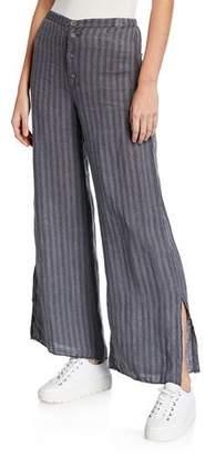 XCVI Delta Pinstripe Button-Fly Wide-Leg Linen Trousers w/ Slits