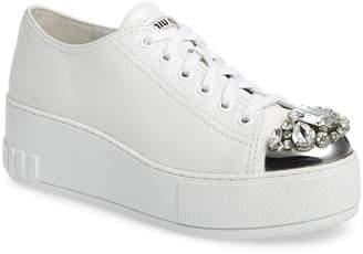 Miu Miu Crystal Cap Toe Sneaker