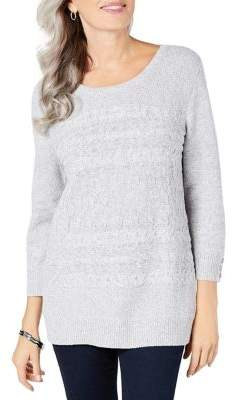 Karen Scott Petite Cable-Knit Button Sweater