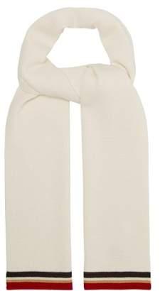 MAISON KITSUNÉ Striped Wool Scarf - Mens - White