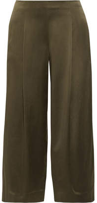 Theory - Zavabell Silk-satin Wide-leg Pants - Army green $355 thestylecure.com