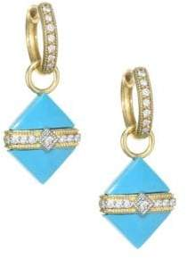 Jude Frances Lisse 18K Yellow Gold& Diamond Wrap Square Turquoise Stone Earring Charms