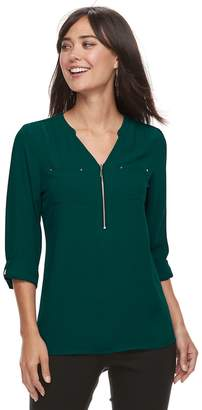 Apt. 9 Women's Georgette Zipper Accent Blouse