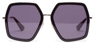 1460591c107 Gucci Oversized Geometric Frame Acetate Sunglasses - Womens - Black