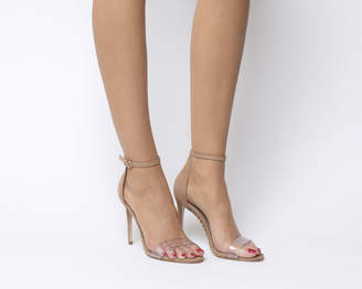 Office Horoscope Clear Strap Studded Sandals Nude