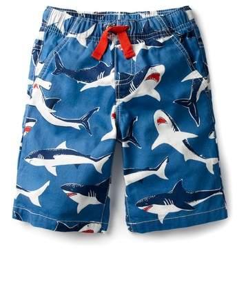 Mini Boden Shark Print Board Shorts