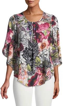 Neiman Marcus Floral-Georgette Tulip-Sleeve Tunic