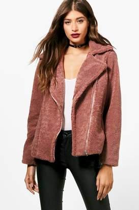 boohoo Natasha Teddy Faux Fur Biker Jacket