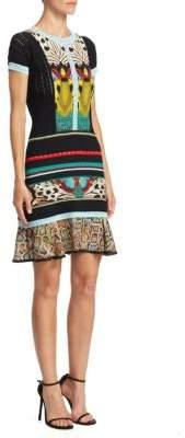 Roberto Cavalli Butterfly Print Knit Dress