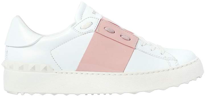 20mm Open Leather Sneakers W/ Patent