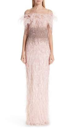 Pamella Roland Feather Trim Embellished Column Gown