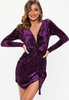 Missguided Petite Mauve Crushed Velvet Twist Dress