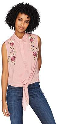 Serene Bohemian Women's Sleeveless Tie-up Shirt with Floral Embroidery (XXL)