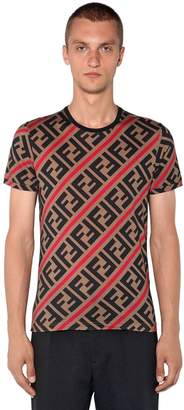 Fendi Allover Printed Logo Cotton T-Shirt