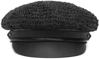 Lola Hats Chauffeur raffia and leather hat