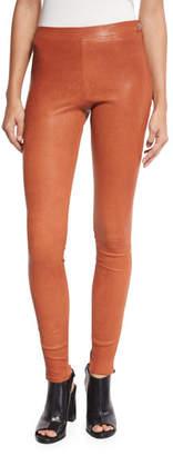 Elizabeth and James Xavier Zip-Trim Leather Leggings, Cinnamon