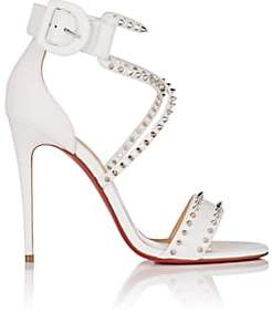 Christian Louboutin Women's Choca Spikes Leather Sandals-Latte, Silver