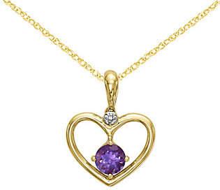 "QVC 14K Amethyst & Diamond Heart Pendant w/18"" Chain"