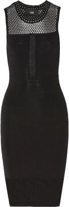 Line Open knit-paneled bandage dress $295 thestylecure.com