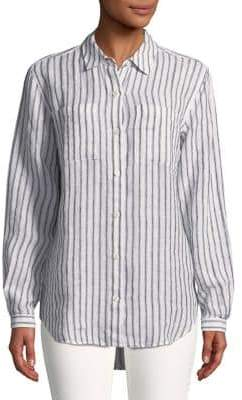 Lord & Taylor Striped Linen Button-Down Shirt