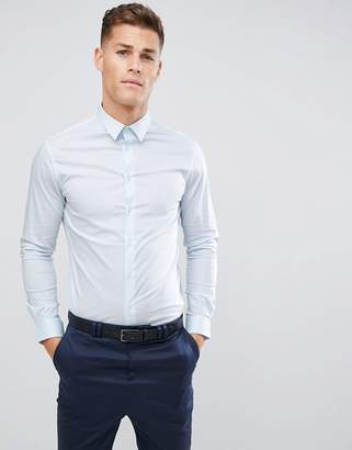 Celio Smart Shirt With Stretch In Dusty Blue