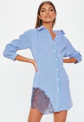 Missguided Blue Striped Lace Trim Shirt Dress