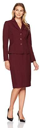 Le Suit Women's Glazed Melange 3 Button Skirt Suit