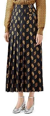 Gucci Women's New GG Silk Twill Maxi Skirt
