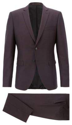 BOSS Hugo Extra-slim-fit suit in a virgin-wool 34R Dark Purple