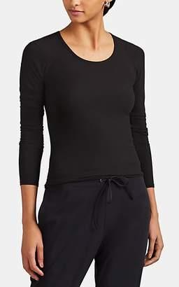 WONE Women's Rib-Knit Jersey Long-Sleeve T-Shirt - Black