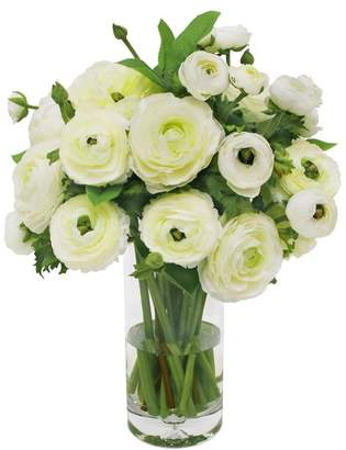 Williams-Sonoma Faux White Ranunculus in Tall Glass Vase