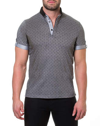 Maceoo Men's Diamond-Print Roll-Sleeve Polo Shirt