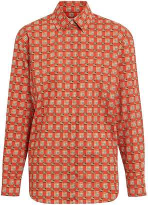 Burberry Tiled Archive Print Cotton Shirt