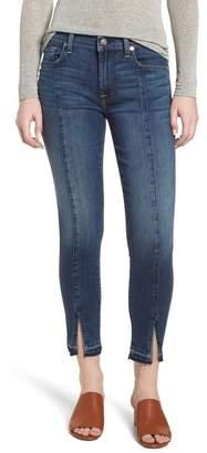 7 For All Mankind Front Seam Slit Released Hem Ankle Skinny Jeans (Boheme Dark Blue)