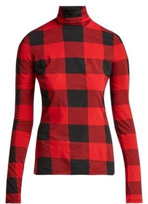 Pswl - Gingham Print Cotton Blend Top - Womens - Black Red